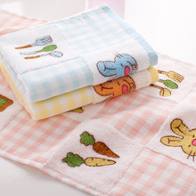 25x50cm   Wholesale calico printing radish rabbit cotton child towel Hand Towel wholesale Home Cleaning Face for baby for Kids