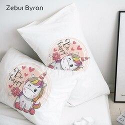 3D Cartoon poszewka na poduszkę poszewka na poduszkę poduszka dekoracyjna pokrywa  piękny różowy jednorożca pościel dla dzieci/dla dzieci/dzieci/chłopak/dziewczyna w Poszewka na poduszkę od Dom i ogród na
