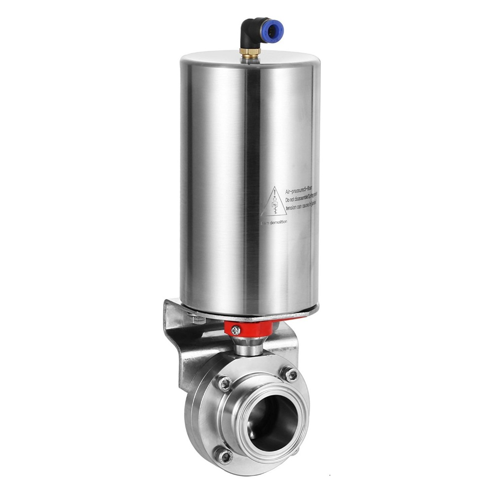 Pneumatic 3 in. Tri Clamp Sanitary Butterfly Valve SS304 Staininless dn50 tri clamp sanitary stainless steel 304 silicon manual handle butterfly valve