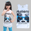 Girls Sleeveless T-shirts Summer Kids Tops Teenager Cotton Vest Casual Infant Clothing Children T Enfant Cartoon Tees 8 10 12 14