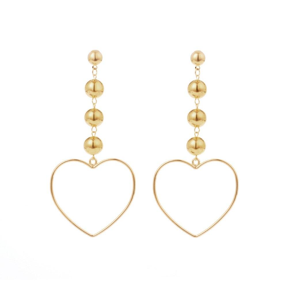 Vintage Fashion Heart Shape Pendant Dangle Earrings Gold Color Plastic Beads Drop Earrings Jewelry for Women