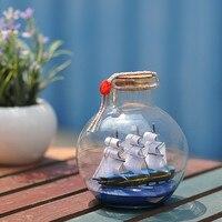 10*10*11.5 CM stile Mediterraneo Barca A Vela Nave in Bottiglia Deriva bottiglia di Vetro di Fascino di Vetro Sughero Fiala Arredamento nautico