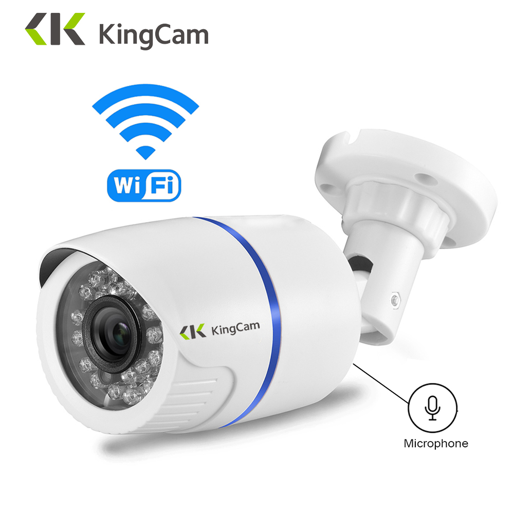 KingCam Weatherproof Wifi IP Camera 1080P Wireless CCTV Bullet Outdoor Indoor Cameras With Microphone,Support SD TF Card Cam
