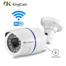 Kingcam câmera de vigilância externa, 1080p sem fio cctv câmera interna à prova de intempéries com microfone, suporte de cartão sd tf