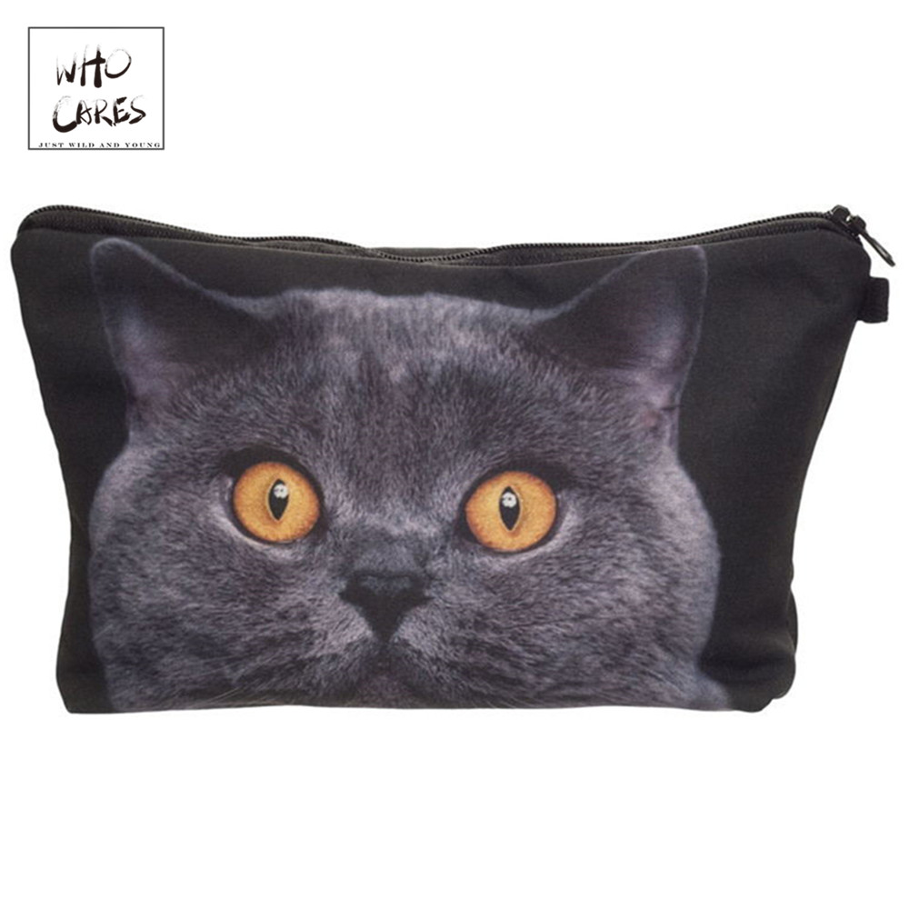 Who Cares printing British shorthair cat Makeup Bags Cosmetic Organizer Bag Pouchs For