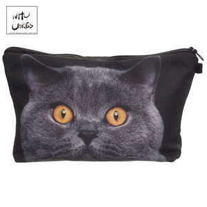 Who Cares printing British shorthair cat Makeup Bags Cosmetic Organizer Bag Pouchs For Travel Lady Pouch Women Cosmetic Bag(China)