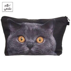 Who Cares, с принтом британских короткошерстных кошачьих косметичек, косметический Органайзер, сумка для путешествий, женская сумка, женская ко...