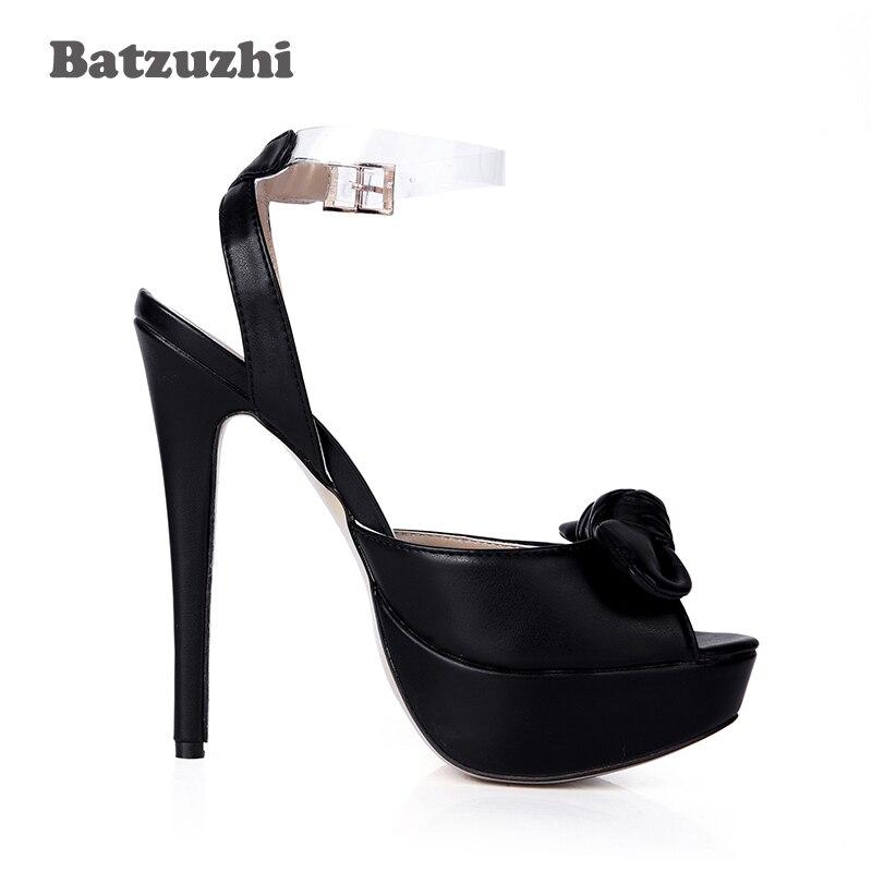 Chaussures Noir Arc Sexy Transparent Hauts Talons Sur À Cuir Boucle Femmes 14 Cm De Batzuzhi Sangle En Soirée Bout Ouvert qUwY8Y