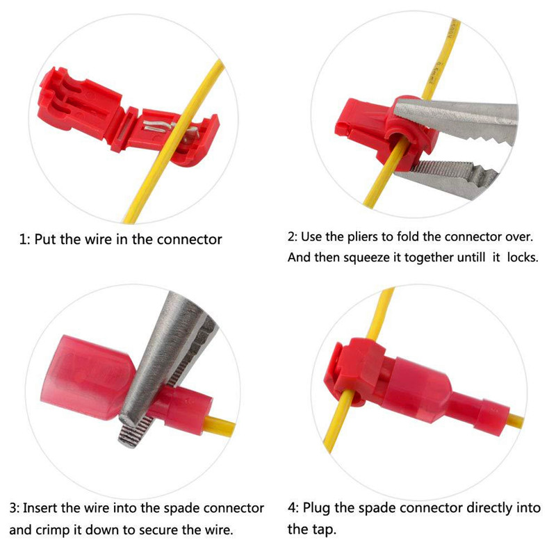 120 PCS T Tap Electrical Connectors Quick Wire Splice Taps and Insulated Male Quick Disconnect Terminals Yellow Red Blue in Connectors from Lights Lighting