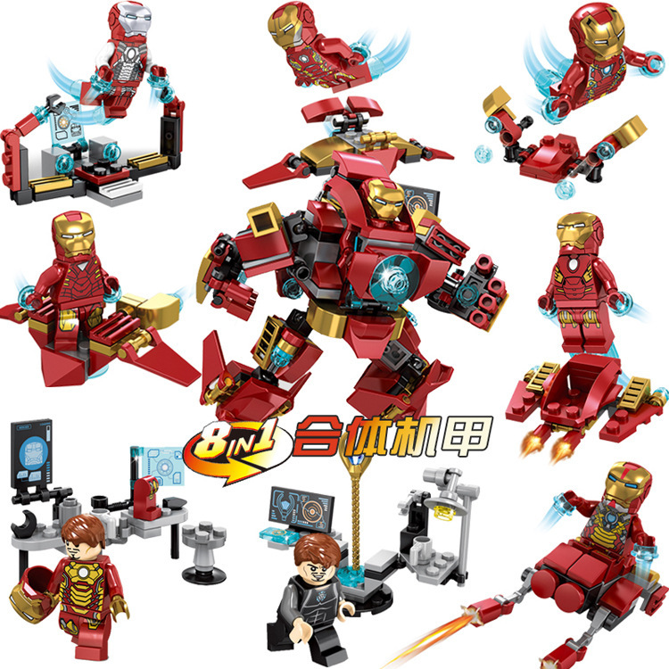 New 8 In 1 SY624 Legoing Iron Man Building Blocks Hulkbuster Figure DIY Model Assembling Brick Toys For Kids