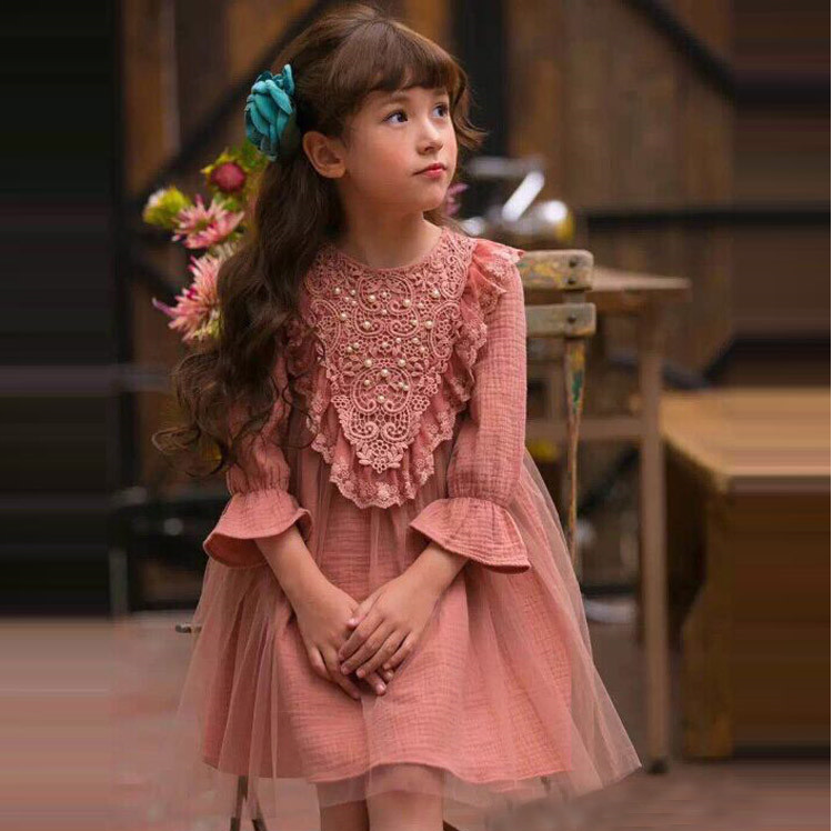 2016 New Spring Autumn Girl Korean Style Mesh LaceDress Kids Children Clothing Princess One Piece with