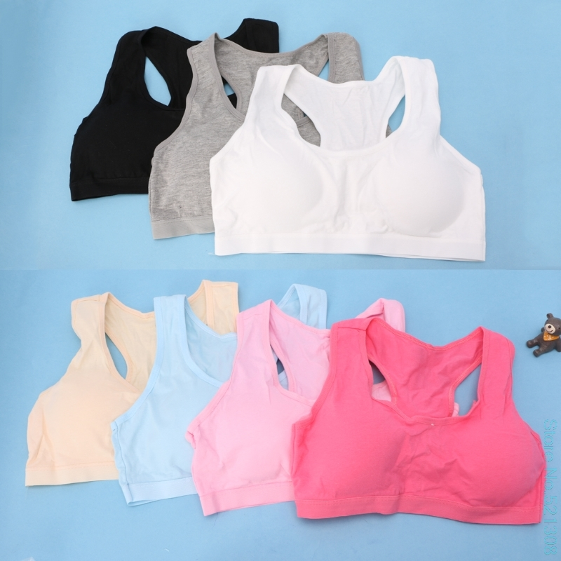 Cotton Young Girls Kids Underwear For Sport Wireless Small Training Puberty Bras
