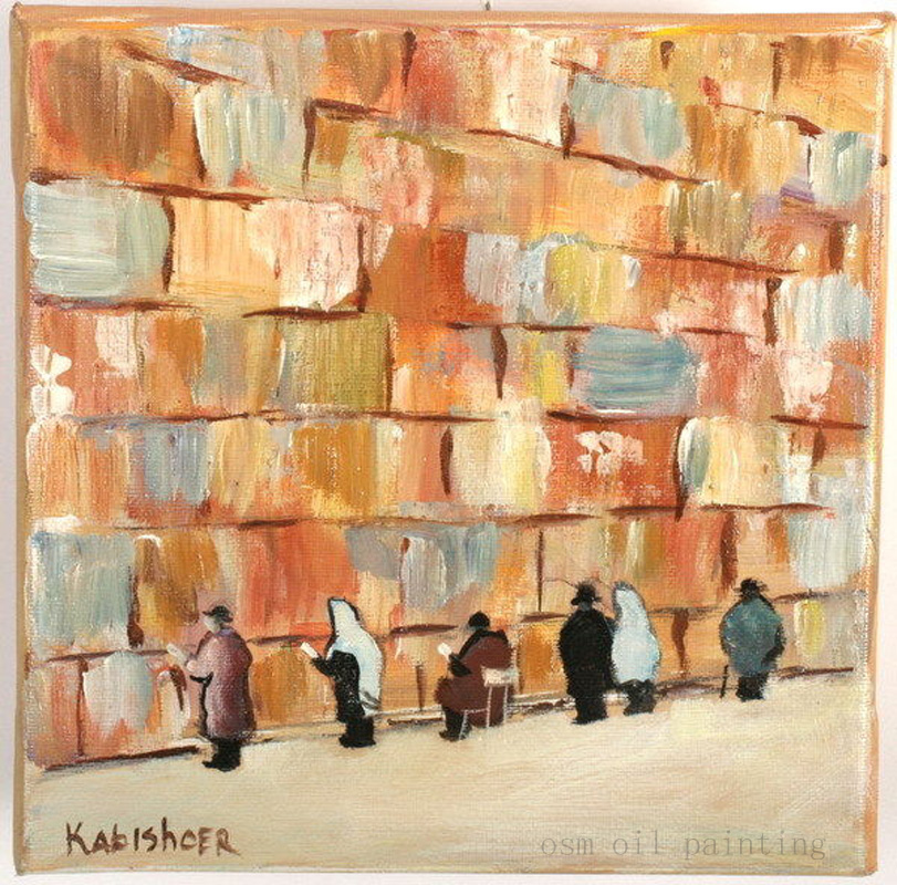 Hand painted Modern Abstract Jerusalem Kotel Wailing Wall Palette font b Knife b font Oil Painting