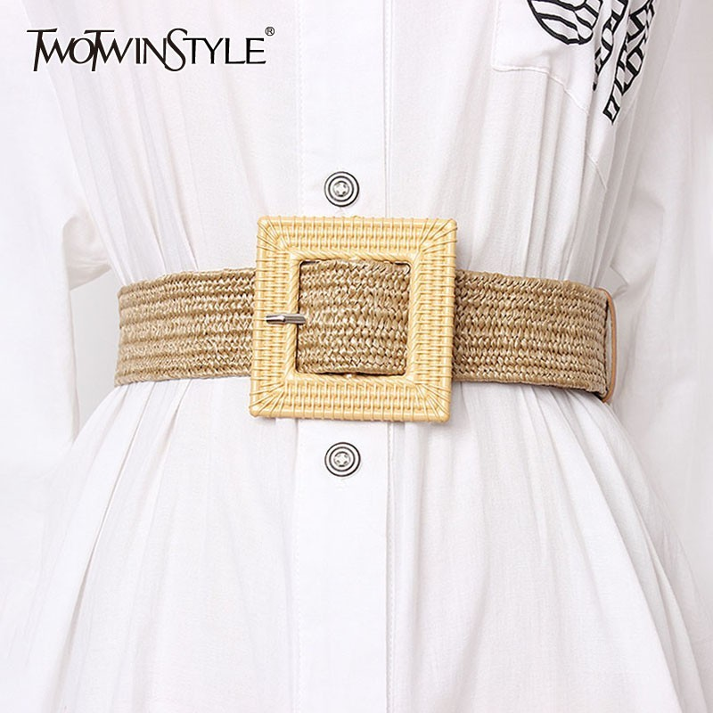 TWOTWINSTYLE Summer 2020 Fashion High Waist Slim Belt For Women Striped Belts Female Dresses Accessories Fashion New Tide