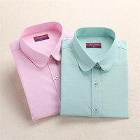 Dioufond Women White Blouse Solid Ladies Office Shirts Long Sleeve Women Cotton Blouse Shirt Plus Size