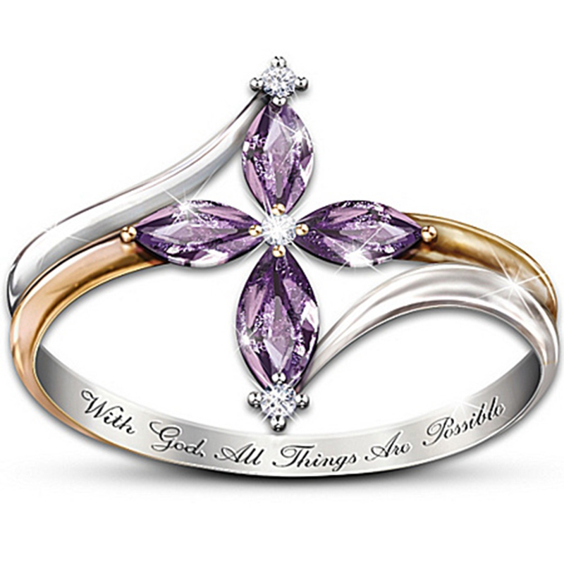 Faith Conquers All Amethyst Cross Ring 3