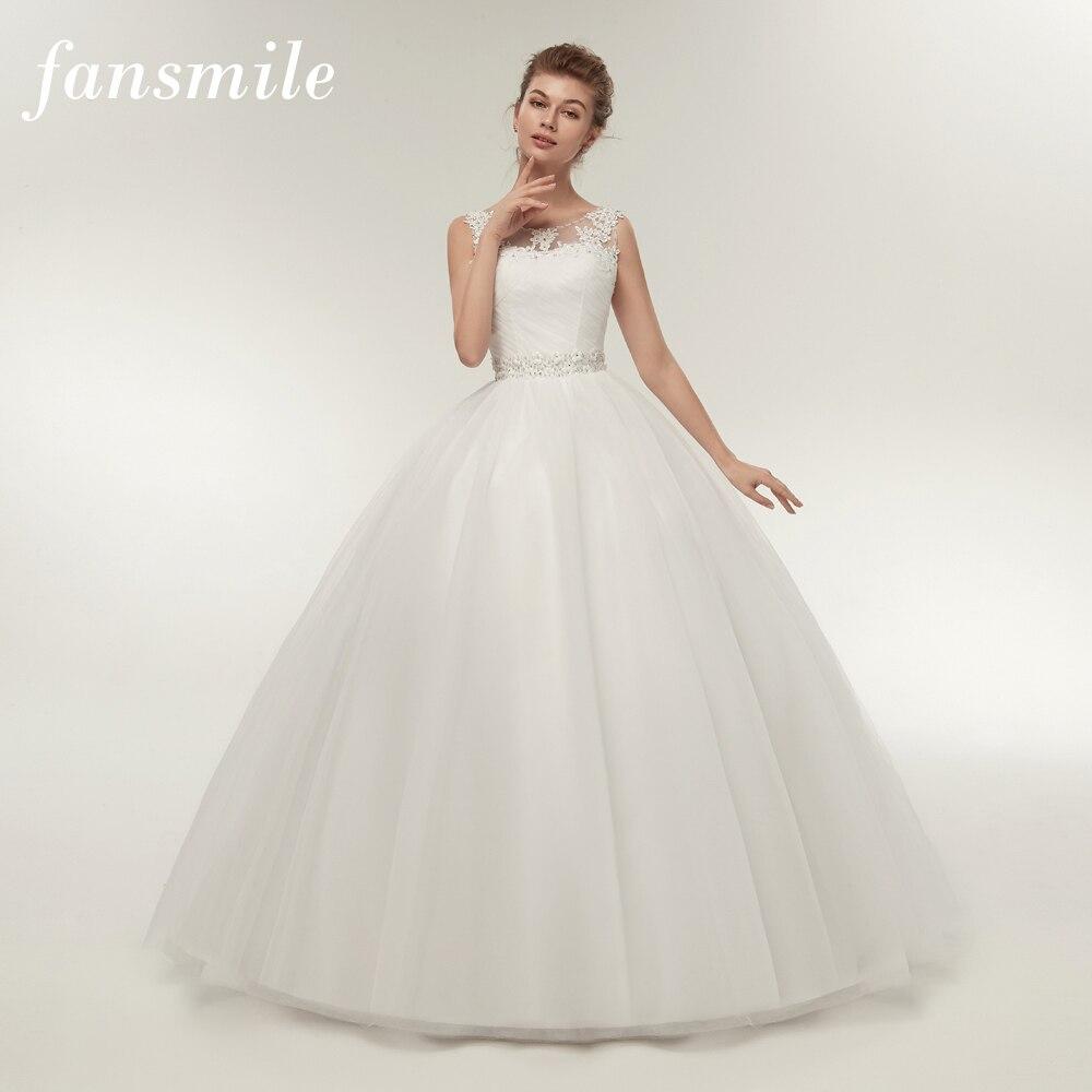 Fansmile Real Photo Cheap Double Shoulder Lace Up Ball Wedding Dresses 2019 Vintage Plus Size Bridal Dress Wedding Gown FSM-027F