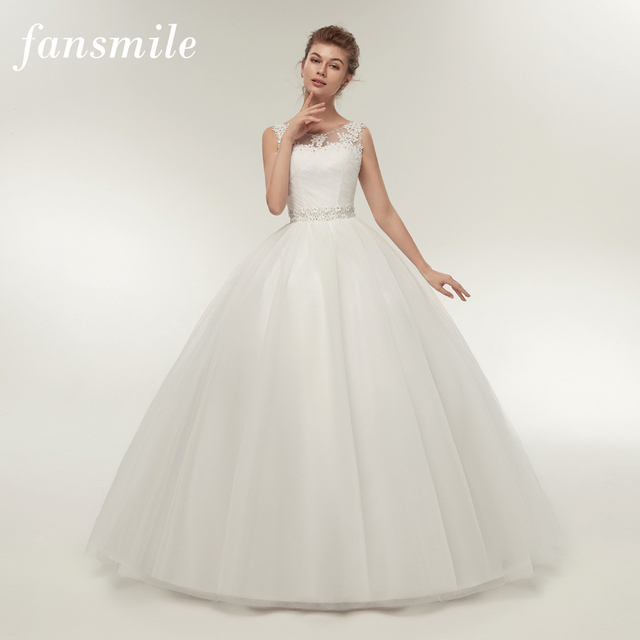 Fansmile Real Photo Cheap Double Shoulder Lace Up Ball Wedding ...