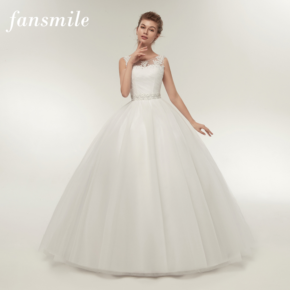 Fansmile Real Photo Cheap Double Shoulder Lace Up Ball Wedding Dresses 2019 Vintage Plus Size Bridal Dress Wedding Gown FSM-027F