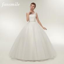 Fansmile Real Photo Cheap Double Shoulder Lace Up Ball Wedding Dresses 2020 Vintage Plus Size Bridal Dress Wedding Gown FSM 027F