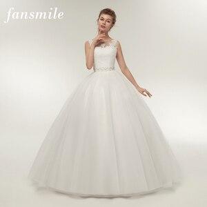 Image 1 - Fansmile Real Photo ราคาถูกไหล่คู่ Lace Up งานแต่งงานชุด 2020 VINTAGE PLUS ขนาดชุดเจ้าสาวงานแต่งงานชุด FSM 027F
