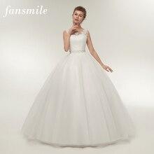 Fansmile صور حقيقية رخيصة مزدوجة الكتف الدانتيل حتى الكرة فساتين الزفاف 2020 خمر حجم كبير فستان الزفاف ثوب الزفاف FSM 027F