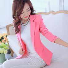 新しい女性の春秋のブレザージャケットファッション単一のボタンブレザー女性白/黒/ピンク/ブルーレディーブレザー