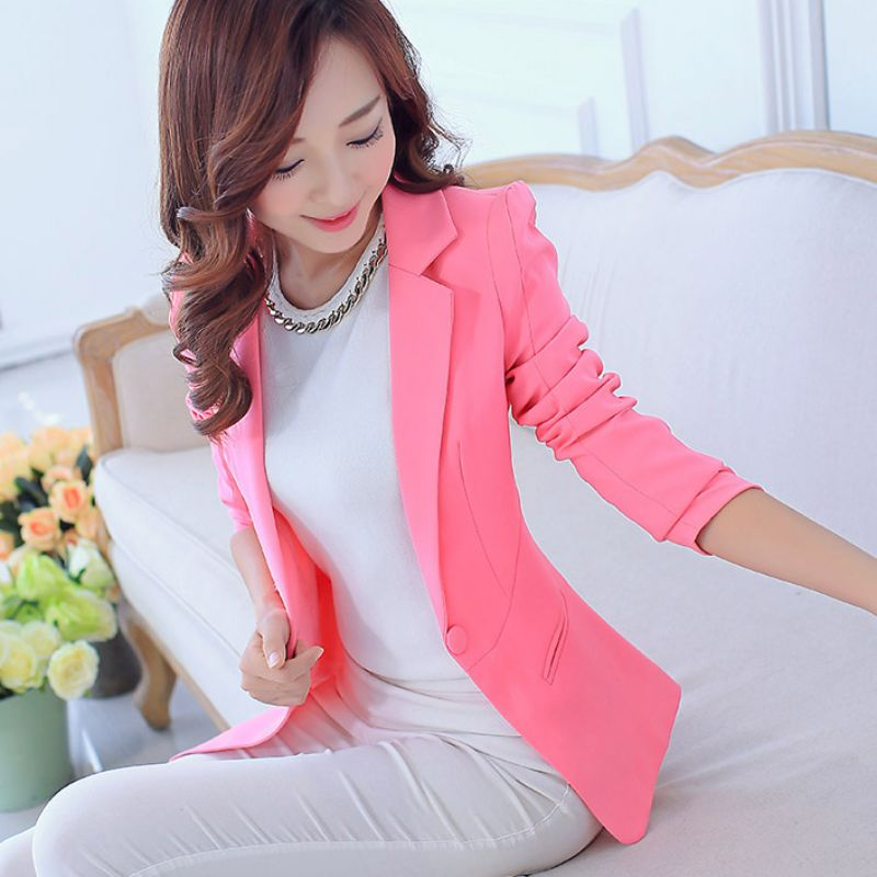 New Women's Spring Autumn Blazers Jackets Fashion Single Button Blaser Female White/Black/Pink/Blue Ladies Blazer