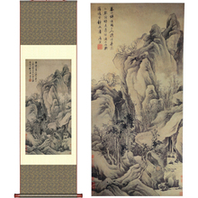 ShaoFu Vintage Silk Scroll Paintings Home Decoration Mountain Chinese Ink Painting Famous Art Wall Picture Culture Business Gift