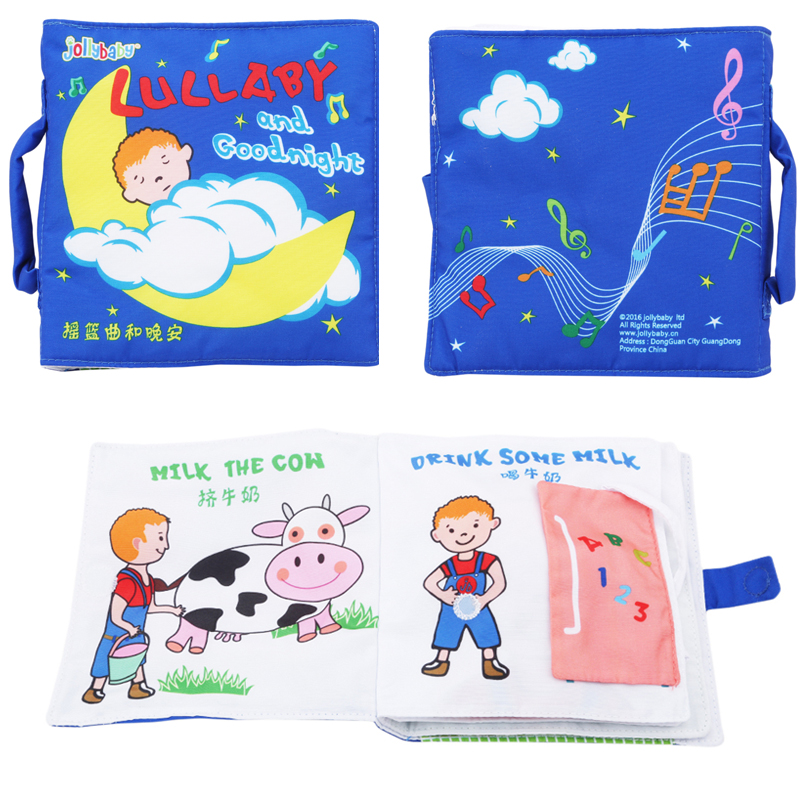 Learning Education Animal Soft Cloth Book With Rattles 3D Unfolding Animal Fabrics Books Baby Early Learning Cloth Books