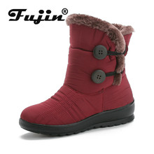 Fujin Snow Boots 2019 New Classic Heels Suede Women Winter Warm Fur Plush Insole causal Shoes Hot Female