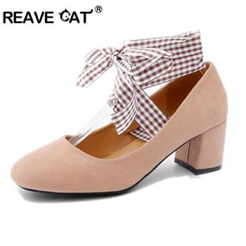 REAVE CAT Sexy Women Pumps Flock Thick Heels Shoes Women Party Cross Tie Bowtie Casual Pumps Stiletto Pumps Zapatos Mujer A469 фото