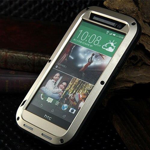 imágenes para Original M8 amor mei funda impermeable para HTC uno M8 caso Dropproof caso de aluminio para HTC M8 potente caso a prueba de golpes