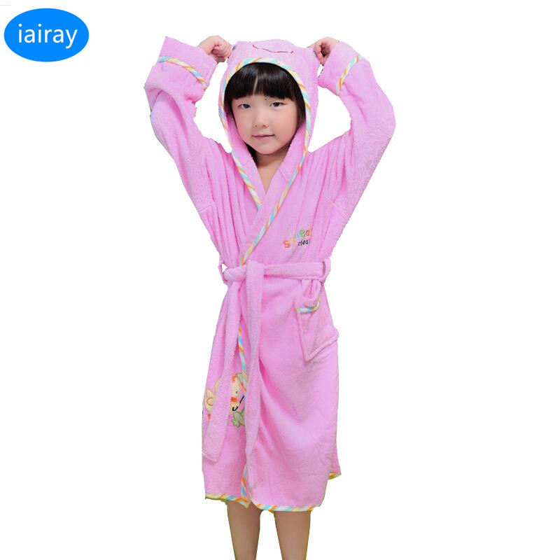 iAiRAY hooded pajamas for girls sleepwear pink cotton pyjamas kids poncho towels girls towel robe children bathrobe girl costume стоимость