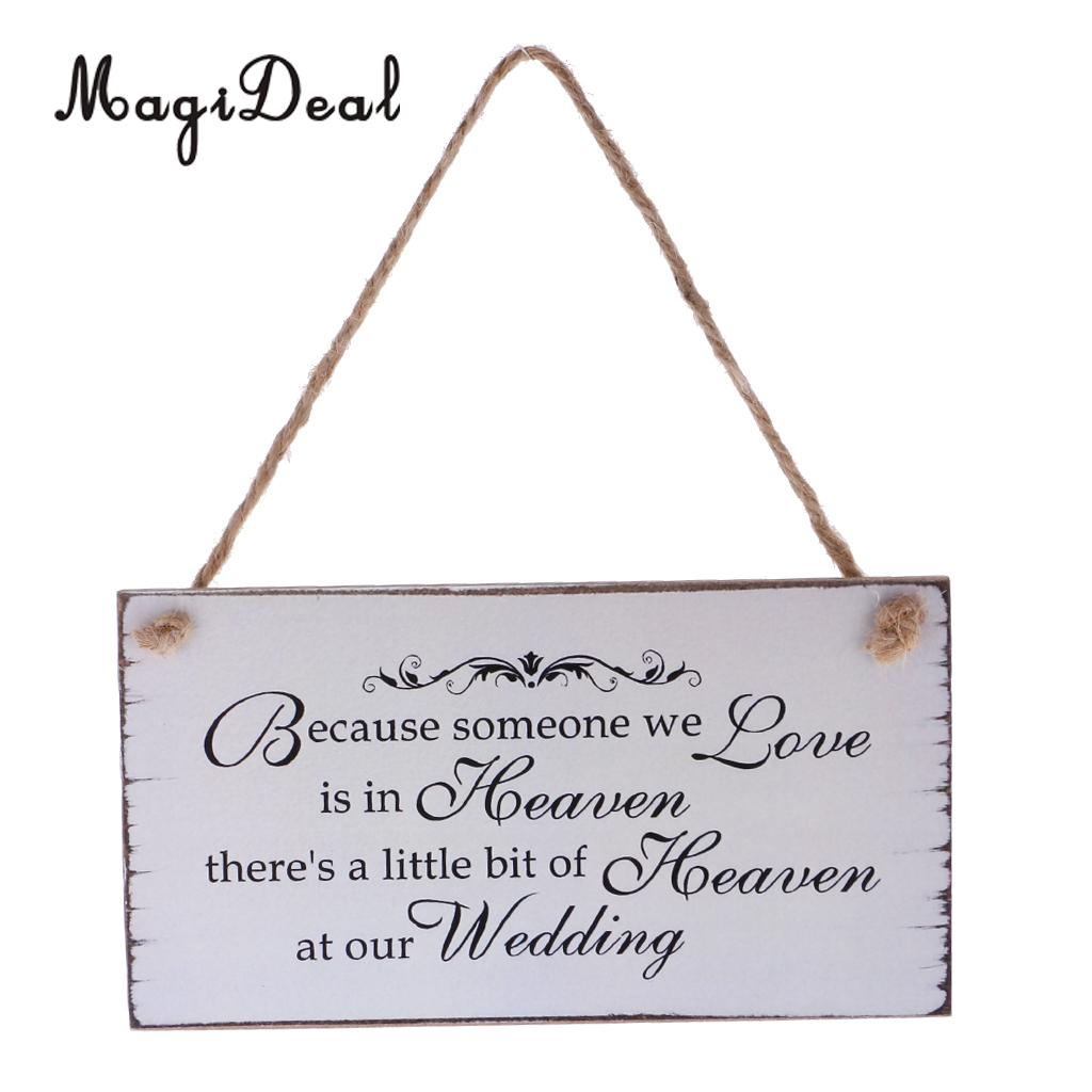 MagiDeal Romantic Title Because Someone We love is in Heaven Wedding Sign Memorial Hanging Plaque Wedding Board Gift 22 x 10.5cm