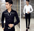 Newest Men's Sexy V Neck Embroidered Slim Fit Mod Button Down Long Sleeve Casual Shirt Top Black White