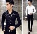 O mais novo dos homens Sexy Decote Em V Bordado Slim Fit Mod Botão Para Baixo Camisa de Manga Comprida Casuais Top Preto Branco
