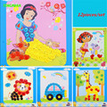 HAPPYXUAN 12 pcs/lot 21.5*19cm Button Craft Painting Child Handmade DIY Stickers Material kit
