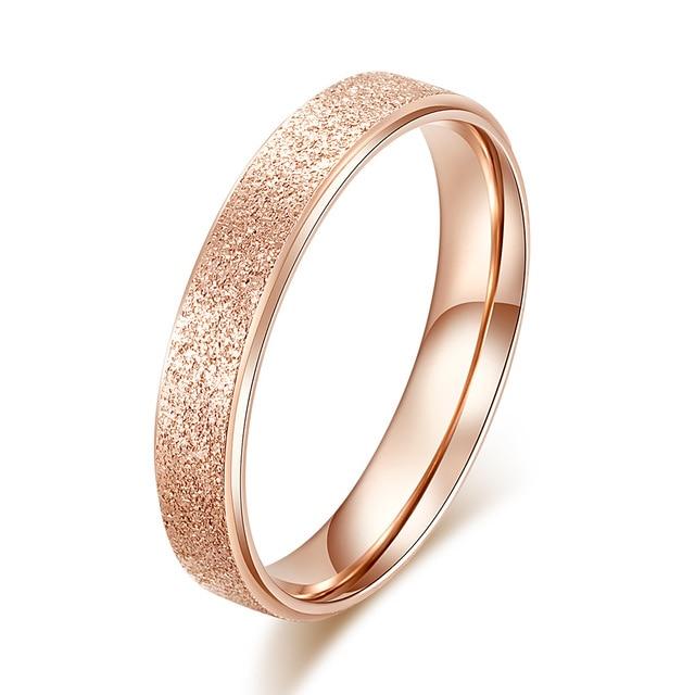 KNOCK Высокое качество модные простые скраб нержавеющая сталь женские кольца 2 мм ширина розовое золото цвет палец подарок для девушки ювелирные изделия - Цвет основного камня: 0000024