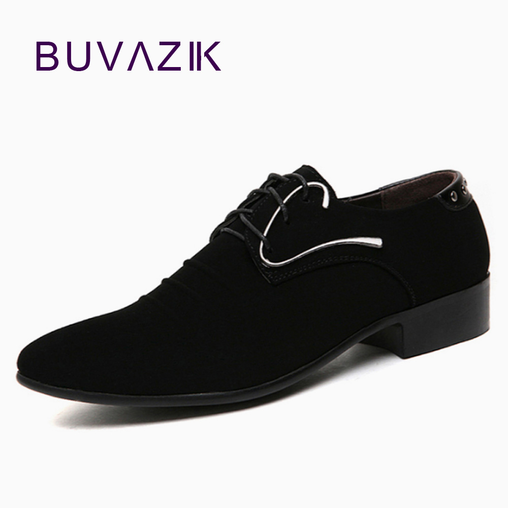 2017 New Arrival Men Business Oxfords Dress Shoes Men's Casual Shoes  Black Suede Leather Pointed Toe men's shoe free shipping