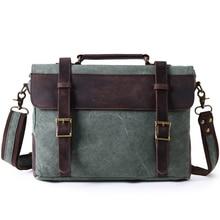 Briefcase Laptop Bags Leather Men Genuine  Waterproof Canvas