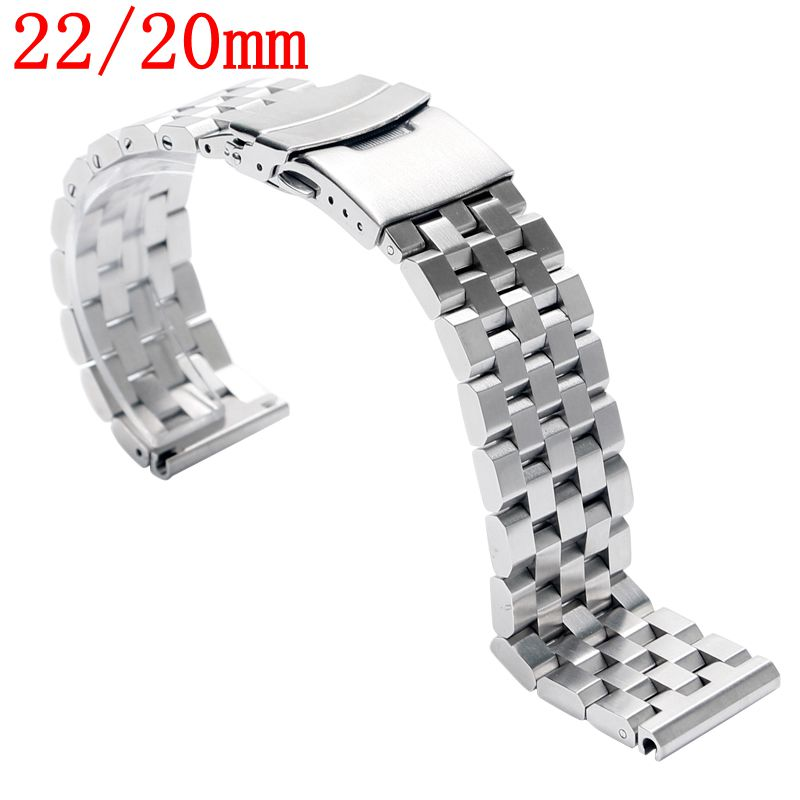 22/20mm Silver/Black Watch Band Strap Stainless Steel Solid Bracelet Men Push Button Folding Clasp with Safety Replacement Cool metal stainless steel watch band wrist strap 16mm 18mm 20mm 22mm replacement butterfly clasp bracelet men women black rose gold