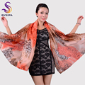 [BYSIFA] Sexy Brand Leopard Silk Scarf Shawl Women's Long Scarves Wraps Fashion Head Scarf 180*110cm Orange Summber Beach Shawl