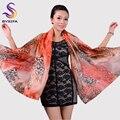 [BYSIFA] marca sexy leopard lenço de seda xale das mulheres longo cachecóis wraps cabeça cachecol fashion 180*110 centímetros orange summber praia xale