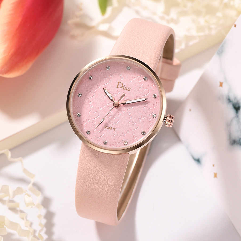แฟชั่น Lady Frosted Dial Heart Shape รูปแบบเข็มขัดหนังนาฬิกาควอตซ์นาฬิกานาฬิกาควอตซ์กลไกเงียบ montre femme 50
