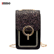 Luxury Leather Women Phone Bag Mini Sequin Messager Chain Crossbody for Patent PU Shoulder Girls Cell Purses