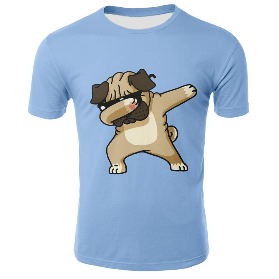 <font><b>Animal</b></font> Pug Dog DAB Kids <font><b>Tshirt</b></font> 2019 Summer Children T-shirt Boy Girl Short Sleeve Printed Tee Tops Child Dabbing Unicorn T shirt image