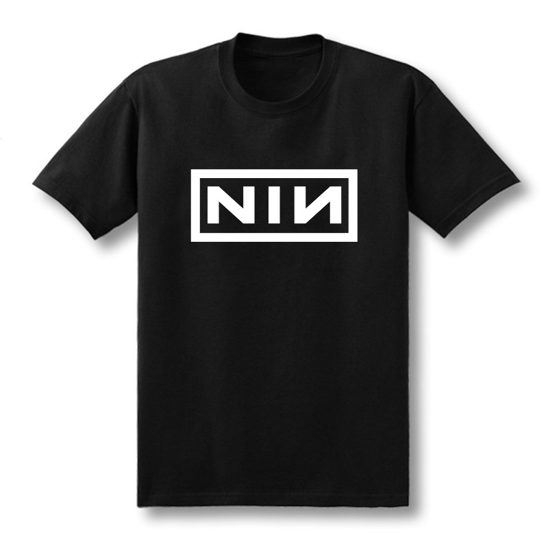 2019 Summer Fashion Costume Cotton Slim Fit Casual Short Sleeve T Shirt Men Print Nine Inch Nails Rock Band T-shirts Size XS-XXL