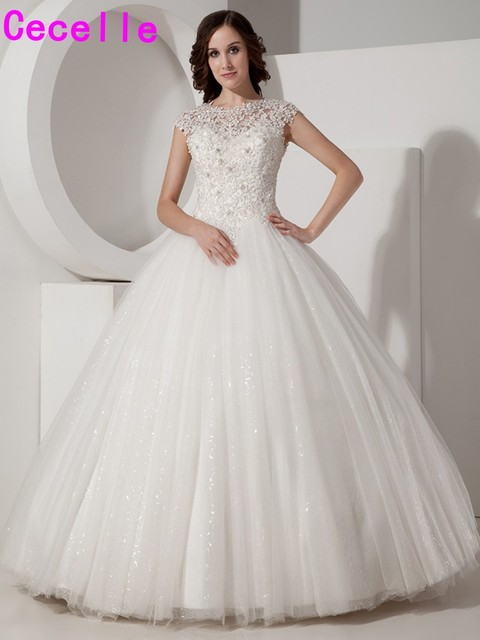 2019 Real Picture Designer Ball Gown Lace Tulle Wedding Dresses Bridal Gowns Floor Length Beaded Jewel Princess Wedding Gowns