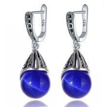 Jojewel nova gota de água pedra azul escuro imitação opala brincos para as mulheres do vintage jóias para presentes festa de casamento